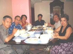 "Anita's Kitchen in Mandaue Cebu, Overseas Filipino Council-CEBU, (L-R) Minister Carlos ""Carli"" Florido, Ogie Reyes, Helen Ang, Bong Amora, Eli Perez and Nitz Sese Schon, At The Ancestors Pension House in Mandaue City owned by  Eli and lorna Perez)"