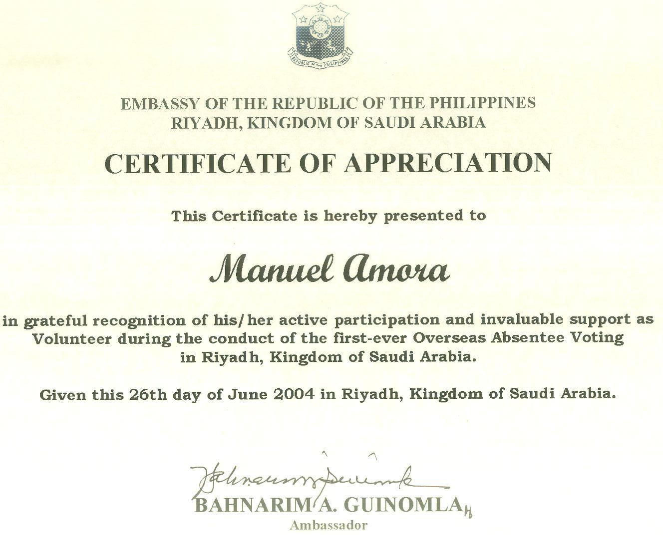 Certificate of appreciation from ambassador bahnarim guinomla certificate of appreciation from ambassador bahnarim guinomla yadclub Images