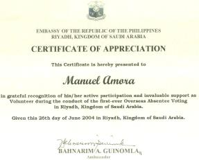 Certificate of Appreciation (First Overseas Absentee Voting in Riyadh)