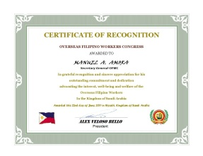 Certificate of Recognition (OFW Congress)