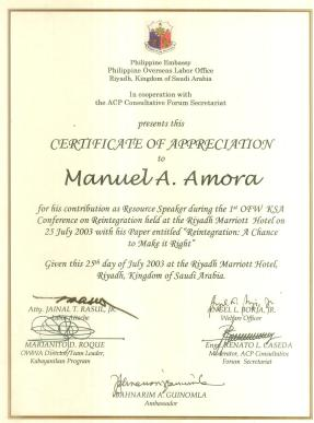 Certificate of Appreciation (Resource Speaker of the First OFW Reintegration Conference in Riyadh)