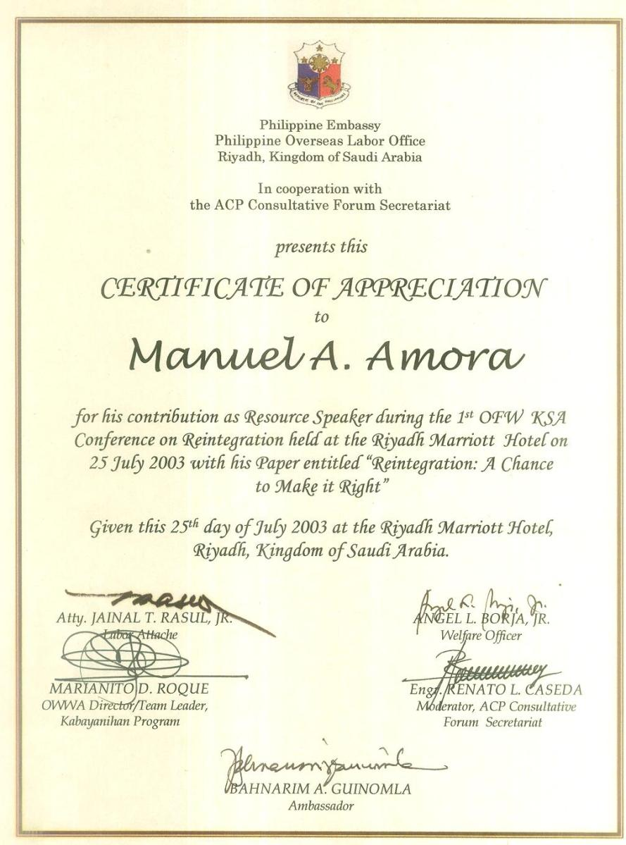 Certificate of appreciation from polo labor attache jun rasul like this yelopaper Image collections