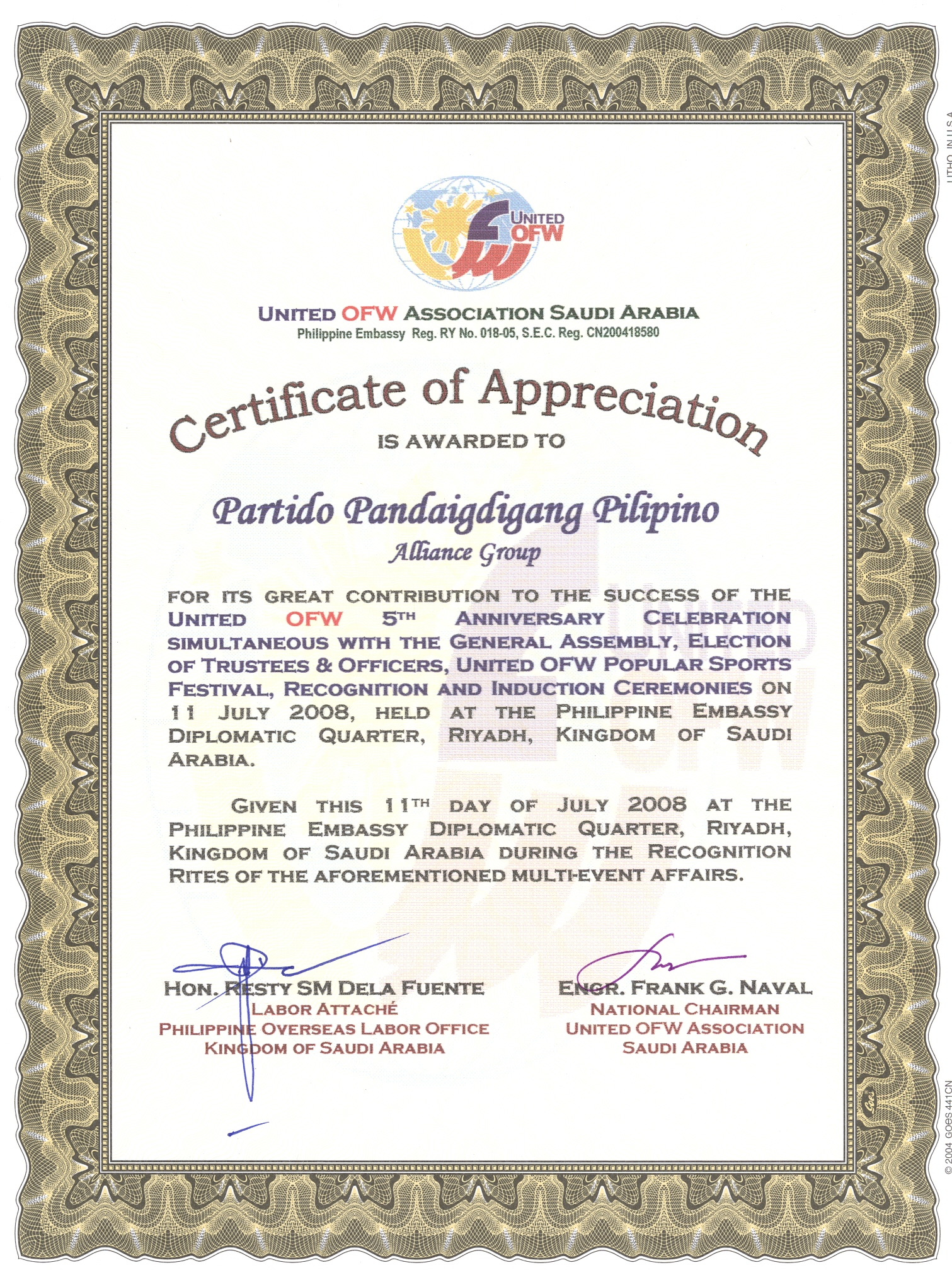 Certificate of appreciation inducting officer images certificate certificate of appreciation in filipino images certificate certificate of appreciation from ppp overseas filipinos certificate of yadclub Image collections