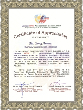 Certificate of Appreciation (Unite OFW)