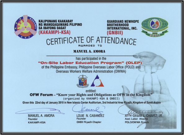 CERTIFICATE OF ATTENDANCE FROM POLO LABOR ATTACHE CESAR