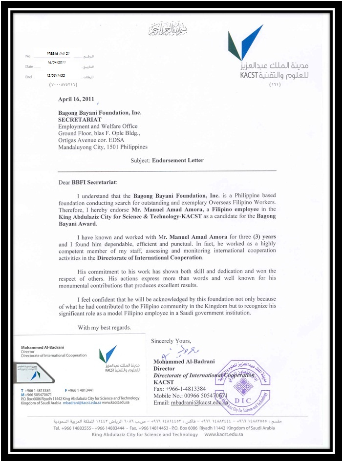 ENDORSEMENT LETTER FROM DIRECTOR MOHAMMED ALBADRANI INTERNATIONAL – Endorsement Letter for Employment