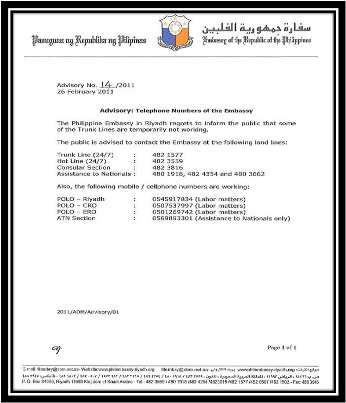 Advisory: Telephone Embassy of Philippine Embassy   Overseas