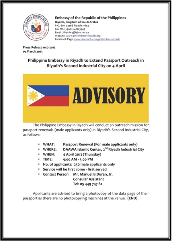 PHIL. EMBASSY ADVISORY PR-040-2013