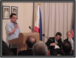 Consul Roussel Reyes during the Farewell get-together at Philippine Embassy