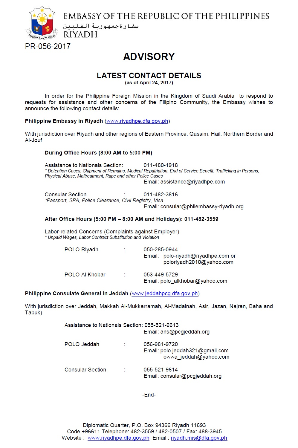 PhilEmb-Riyadh Latest Contact Details | Overseas Filipinos Worldwide