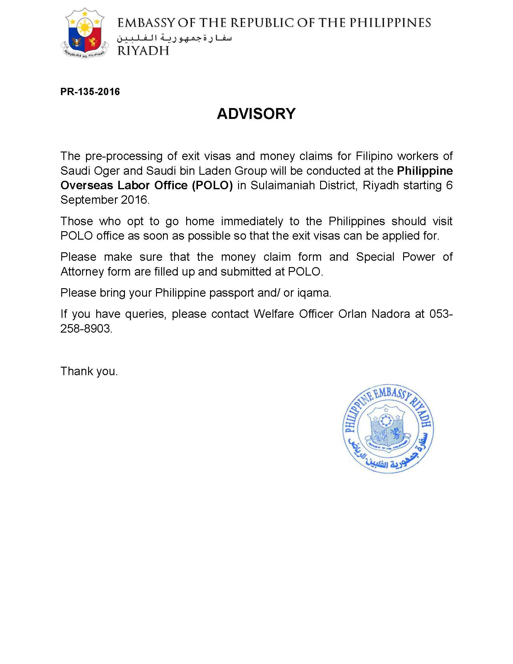 Pr 135 2016 Advisory Saudi Oger Saudi Bin